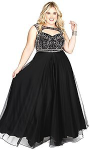 Long Plus Size Prom Dress with Sweetheart Cut Out