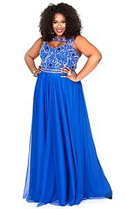Image of long plus-size prom dress with sweetheart cut out. Style: SK-71163 Detail Image 1