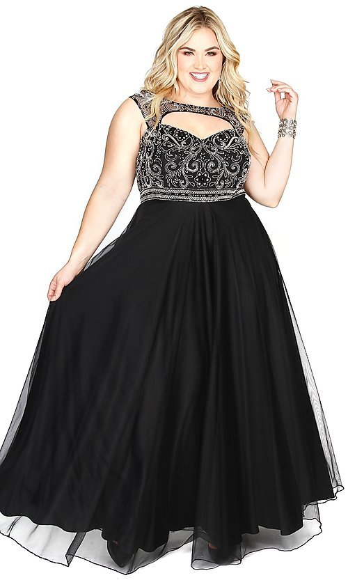 Image of long plus-size prom dress with sweetheart cut out. Style: SK-71163 Front Image