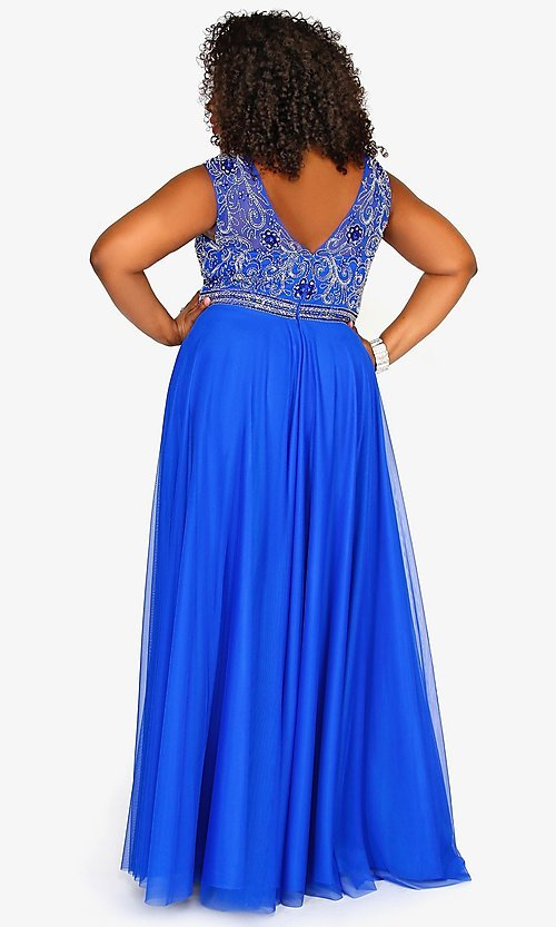 Image of long plus-size prom dress with sweetheart cut out. Style: SK-71163 Back Image