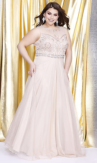 Illusion Sweetheart Empire Waist Plus Prom Dress