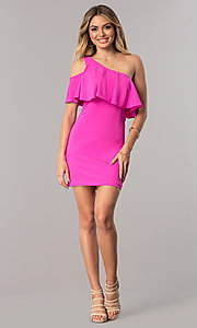 Image of ruffled short fuschia party dress with one shoulder. Style: DMO-J317687 Detail Image 1