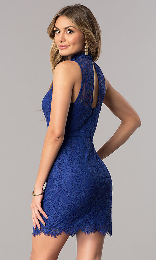 Image of short royal blue lace junior-size homecoming dress. Style: DMO-J317467 Back Image