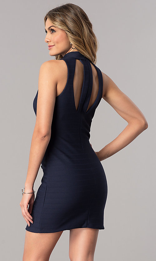 Image of short wedding-guest dress in navy blue with choker. Style: DMO-J317487 Back Image