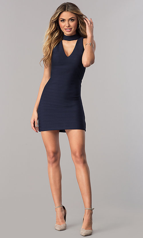 Image of short wedding-guest dress in navy blue with choker. Style: DMO-J317487 Detail Image 1