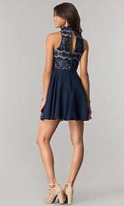 Image of short navy homecoming party dress with chiffon skirt. Style: DMO-J317457 Detail Image 2