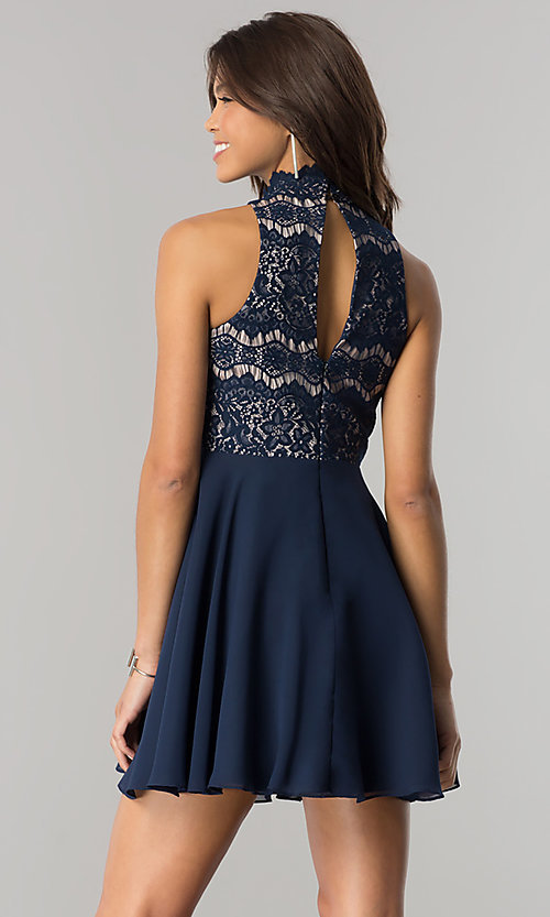 Image of short navy homecoming party dress with chiffon skirt. Style: DMO-J317457 Back Image
