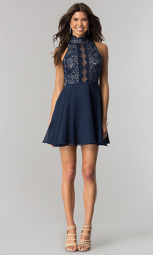 Image of short navy homecoming party dress with chiffon skirt. Style: DMO-J317457 Detail Image 1