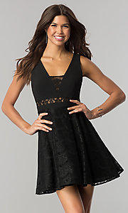 Image of short v-neck black lace party dress in junior sizes. Style: DMO-J317817 Front Image