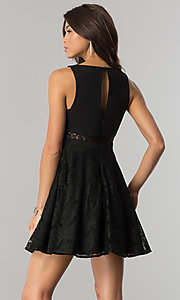 Image of short v-neck black lace party dress in junior sizes. Style: DMO-J317817 Back Image