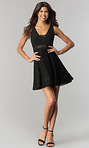 Image of short v-neck black lace party dress in junior sizes. Style: DMO-J317817 Detail Image 1