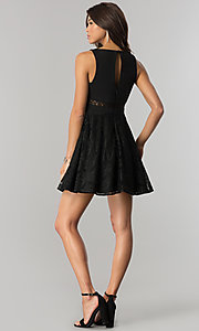 Image of short v-neck black lace party dress in junior sizes. Style: DMO-J317817 Detail Image 2