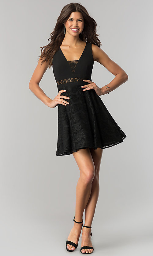 Junior-Size Black Lace Short Party Dress - PromGirl