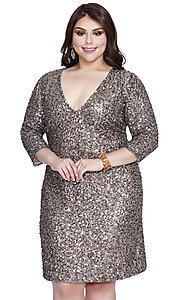 Sequin Deep V-Neck Plus Prom Dress with Sleeves