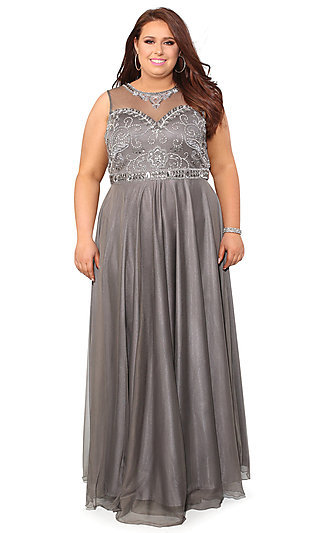 Silver And Gray Plus Size Prom Dresses Promgirl