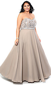 Long Strapless Sweetheart Plus Prom Dress
