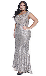Silver Sweetheart Sequin Plus Prom Dress