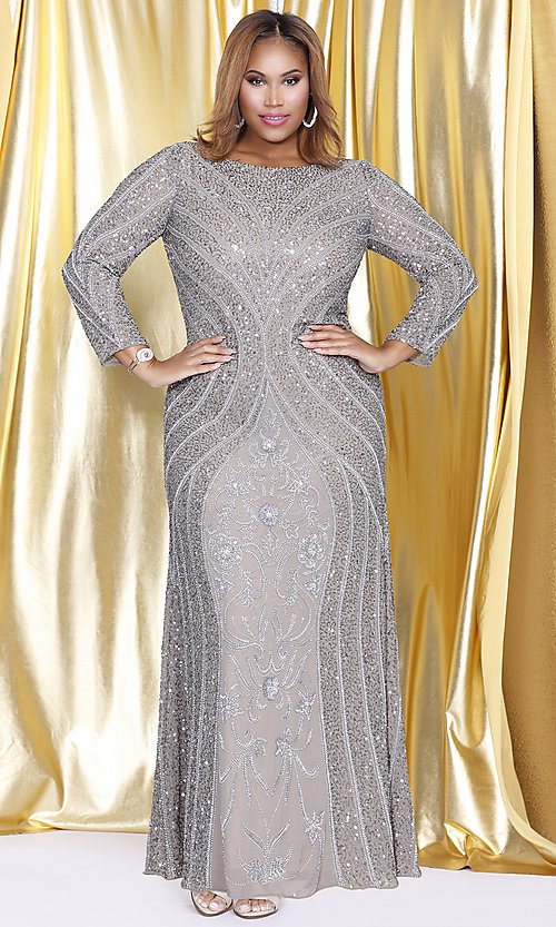 19f8d319ab392 Long Sleeve Silver Sequin Plus Size Prom Dress