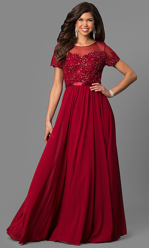 Image of long prom dress with short-sleeve illusion bodice. Style: DQ-9710 Detail Image 1