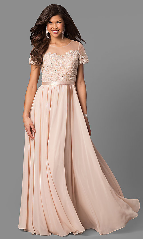 Image of long prom dress with short-sleeve illusion bodice. Style: DQ-9710 Detail Image 2