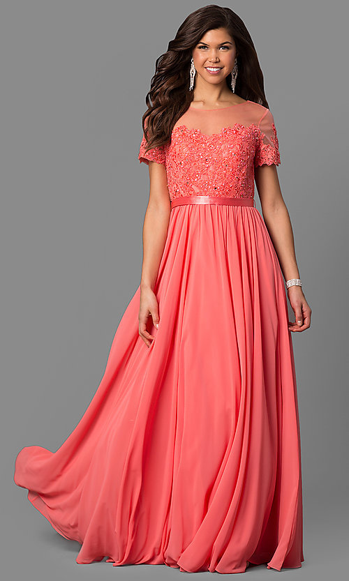 Image of long prom dress with short-sleeve illusion bodice. Style: DQ-9710 Detail Image 3