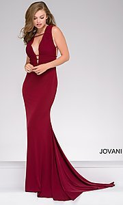 Plunging V-Neck Prom Dress with an Open Back