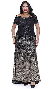 Long Black and Gold Sequin Plus Size Prom Dress