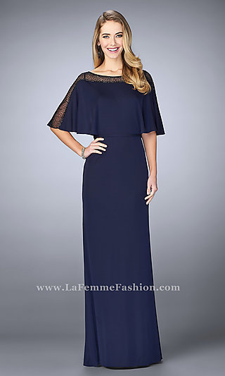 Long Prom Dress with Illusion Accented Neckline by La Femme