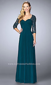 Long La Femme Prom Dress with Illusion Lace Sleeves