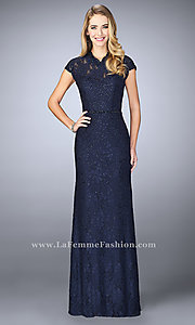 Long Prom Dress by La Femme with High Neck