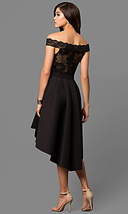 Image of off-the-shoulder high-low party dress.  Style: CL-45242 Back Image