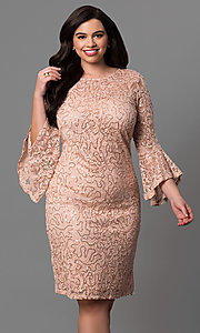 Lace Plus Size 3/4 Bell Sleeve Party Dress