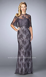 Long Strapless Prom Dress with Illusion Lace Shawl