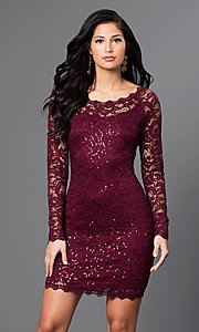 Image of malbec red short lace party dress with long sleeves. Style: MY-2387xz1c Front Image