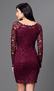 Image of malbec red short lace party dress with long sleeves. Style: MY-2387xz1c Back Image