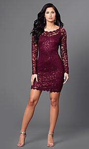 Image of malbec red short lace party dress with long sleeves. Style: MY-2387xz1c Detail Image 1