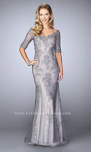 Long Illusion Lace Sleeved Prom Dress by La Femme