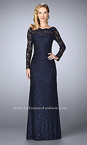Long Sleeved Illusion Lace Prom Dress wtih Beading