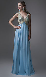 Long V-Neck Empire Waist Prom Dress