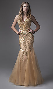 Mermaid Style Gold Strapless Prom Dress