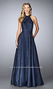 Long High Collar Prom Dress by La Femme with Pockets