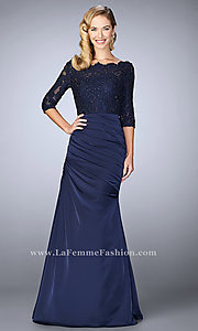 Long Ruched Prom Dress with Illusion Lace Bodice and Sleeves