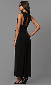 Image of open-back v-neck long wedding-guest dress with slit. Style: BC-YDM60M00 Back Image