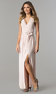 Image of open-back v-neck long wedding-guest dress with slit. Style: BC-YDM60M00 Front Image