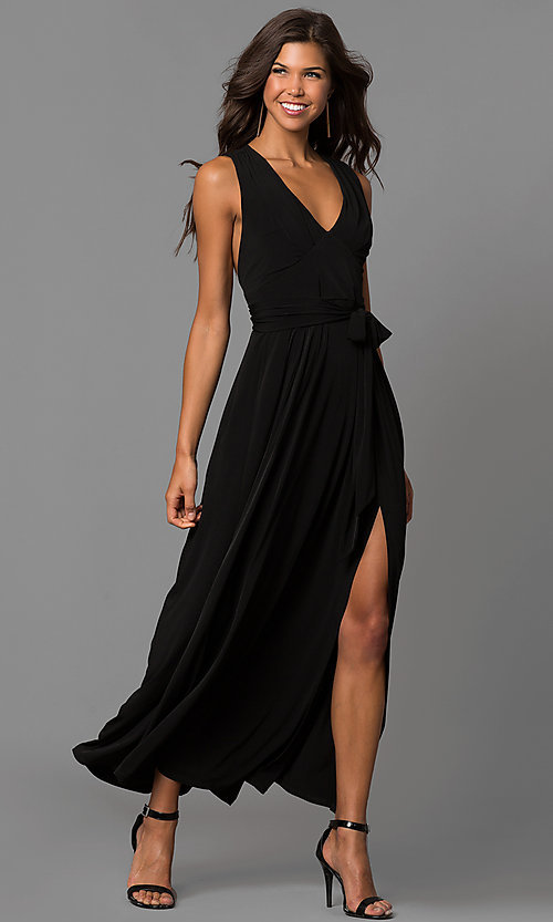 Image of open-back v-neck long wedding-guest dress with slit. Style: BC-YDM60M00 Detail Image 1