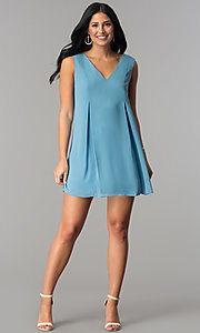 Image of short casual blue chiffon shift wedding-guest dress. Style: BC-VDW64M34 Detail Image 2