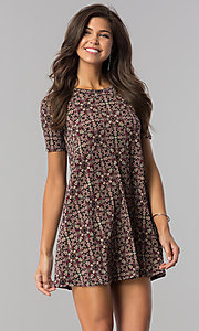 Print Casual Shift Party Dress with Short Sleeves