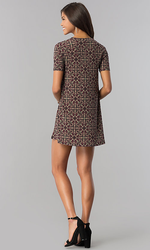 Image of print casual shift party dress with short sleeves. Style: BC-AYY67F00 Detail Image 2