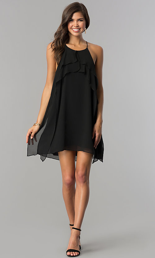Image of adjustable-strap chiffon short shift party dress. Style: BC-VDW61M04 Detail Image 3