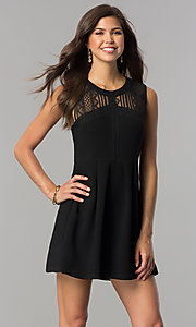 Lace-Yoke Black Short Party Dress with Keyhole